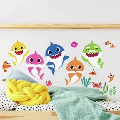 RoomMates - RMK4303SCS Baby Shark Peel And Stick Wall Decals   Kids Room Decor,Blue, Pink, Yellow,Small Nursery Decor, Wall Decor, Room Decor, Vinyl Art, Vinyl Decals, Shark Bedroom, Bedroom Wall, Kids Bedroom, Baby Hai
