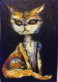 "Cat Acrylic original  ,ACEO  jack larson 3.5""x2.5"""