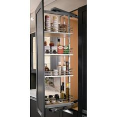 """Hafele Pantry Solutions, Kessebohmer Swing Pull-Out Unit, Pantry Frame, Installed Height 47 1/4"""" - 55 1/8"""", Silver (546.69.241)"""