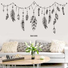 black boho feathers wall stickers for bedroom living room bathroom bar kitchen wall decor removable art. Title: black boho feathers wall stickers for bedroom living room bathroom bar kitchen Removable Vinyl Wall Decals, Vinyl Wall Stickers, Bedroom Wall Stickers, Kitchen Wall Stickers, Art Pour Salon, Style Boho, Bathroom Wall Art, Landscape Walls, Living Room Pictures