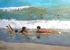 Un cuadro que he pintado de unos niños jugando en la orilla del mar. Dos niños se divierten en este cuadro que puede recordar a Sorolla.