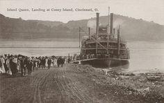 Island Queen, Landing at Coney Island, Cincinnati, O. Steam Boats, Old Boats, Ohio River, Coney Island, Cincinnati, American History, Explore, Sailing, City