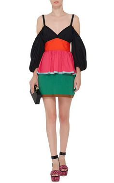 331aaa63ba Cotton Color Blocked Off The Shoulder Mini Dress by ISA ARFEN Now Available  on Moda Operandi