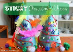 Give your tots their own sticky Christmas tree to decorate! Create these trees from poster board and Contact paper and decorate with sequins, buttons, etc.