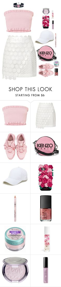 """Kiss from the Roses"" by xoxomuty ❤ liked on Polyvore featuring Topshop, Puma, Kenzo, Sole Society, Kate Spade, NARS Cosmetics, Rimmel, Bobbi Brown Cosmetics, Pink and girly"
