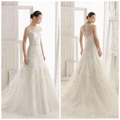 Wholesale 2014 Wedding Dress - Buy Luxurious Illusion Lace Neckline And Back Lace Wedding Dresses Bridal Wedding Gown 2014 Bridal Dresses With Satin Ribbon Sash ED3245, $249.0   DHgate