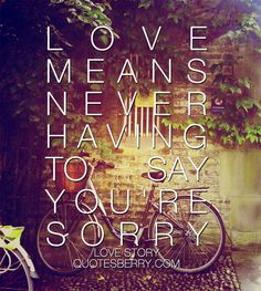 Love means never having to say you're sorry. #quotes more on: http://quotesberry.com