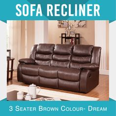 Recliner New Modern 3RR Bonded Leather Brown Smart Ultra Cushioned Stylish Dream