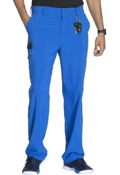 ac8fd7883e2 Infinity By Cherokee Men's Zip Fly Cargo Scrub Pant Athletic styling  Natural rise Half-elastic waistband with interior adjustable drawstring and  five belt ...