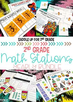 Looking for math stations for 2nd grade? These fun activities for the entire year are engaging, great for small groups, and cover a variety of standards. Click the picture to check out all the activities included! #mathstations #secondgrademath
