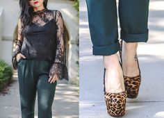 Casual Work Wear For Creative Types, Haute Khuuture, Personal Style, Spring Style, Black Lace Blouse, Bell Sleeve Shirt, Hunter Green Trousers, Sophisticated Daytime Look, Leopard Pumps, Christian Louboutin, Fendi