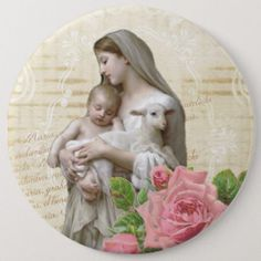 Shop Vintage Blessed Virgin Mary Jesus Lamb Pink Rose Button created by ShowerOfRoses. Jesus And Mary Pictures, Mary And Jesus, Mothers Day Cards, Happy Mothers Day, Aniversary Cards, Jesus Lamb, Christmas Gifts For Girlfriend, Holy Mary, Blessed Virgin Mary