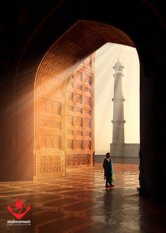 Ray of Light, Mosque next to Taj Mahal, India. Photo by Stalin Ramesh