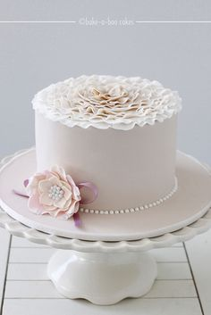 Pink and cream ruffles cake by Bake-a-boo Cakes NZ.  I wonder if they ship?  #kentmanor