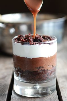 Triple Layer Coffee Caramel Chocolate Mousse Cakes