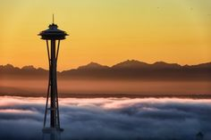 The Space Needle and Olympic Mountains are seen in this photo from Wednesday, shared by Tim Durkan.