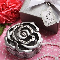 Love is in bloom with these elegant rose design silver and rhinestone accented curio boxes as your party or wedding favors.