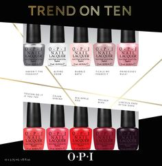 OPI - Trend on Ten nail polish set of 10 current OPI minis Different Color Nails, Different Nail Designs, Ten Nails, Nail Polish Sets, Silver Nails, Nail Envy, Nail Polish Collection, Red Apple, Nail Polish