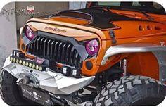Dumé Jeep Jk, Jeep Truck, My Dream Car, Dream Cars, Custom Headlights, Led Headlights, Aftermarket Headlights, Orange Jeep, 4x4