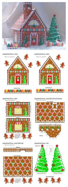 Image result for gingerbread house papercraft template