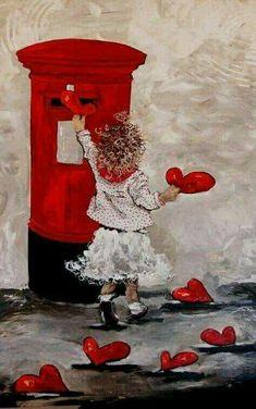 """Képtalálat a következőre: """"maria magdalena oosthuizen art"""" My Funny Valentine, Vintage Valentines, Happy Valentines Day, Valentine Hearts, Valentine Wishes, I Love Heart, Happy Heart, Decoupage, Illustration"""