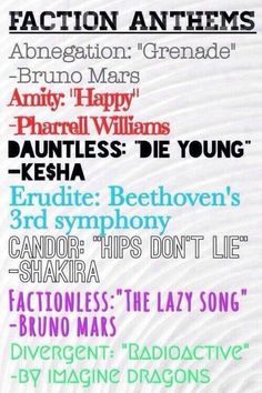 I've haven't seen this one before! Love it! Divergent Faction songs.