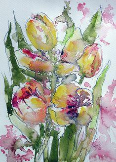 Flower Painting - Tulips by Kovacs Anna Brigitta