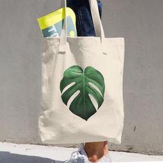 Botanical Art Monstera Deliciosa Reusable Cotton Tote Bag