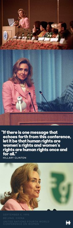 """It might not seem revolutionary now to say """"women's rights are human rights and human rights are women's rights""""—but in 1995, in China, it was. Hear Hillary describe what it was like to stand behind the podium and say those words."""
