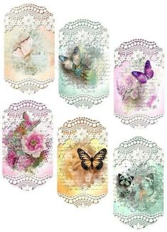 Rice Paper for Decoupage, Scrapbook Sheet, Craft Paper Birds and Blue Butterfly Vintage Tags, Images Vintage, Vintage Labels, Vintage Prints, Vintage Pictures, Decoupage Vintage, Vintage Paper, Printable Labels, Free Printables