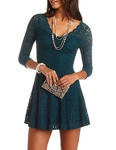 Scalloped Lace Skater Dress #CharlotteRusse #CRfashionista #skaterdress #lace