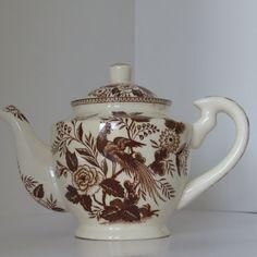 Vintage Transferware Teapot  Brown White by shabbyshopgirls