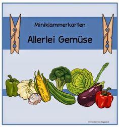 """25 Miniklammerkarten zum Thema """"Gemüse""""    Diese Miniklammerkarten sind für den DAZ- Unterricht gedacht. Man kann sie aber auch im Rahmen ..."""