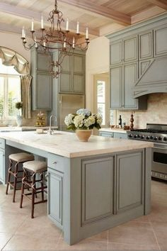 Beautiful kitchen with a touch of French Provincial style.