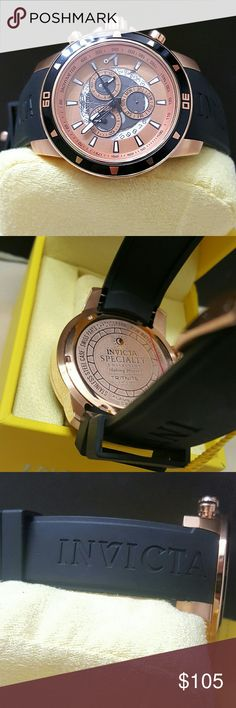 Monday sale,new Invicta Swiss watch BRAND NEW Invicta Men's Chronograph Rose Gold Tone Dial Black Polyurethane Watch.   FIRM PRICE  189.00  . AUTHENTIC WATCH  . AUTHENTIC BOX  . AUTHENTIC MANUAL   SHIPPING  PLEASE ALLOW 1-2 BUSINESS DAYS FOR ME TO SHIPPED IT OFF.I HAVE TO GET IT FROM MY STORE.   THANK YOU FOR YOUR UNDERSTANDING. Invicta Accessories Watches