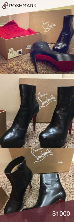 Christian Louboutin Ankle Boots BNIB never worn black shiny ankle boots retails $1,195 Christian Louboutin Shoes Ankle Boots  Booties