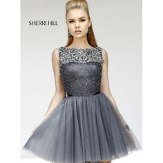 Sherri Hill 11045 Gun Metal Prom Dress
