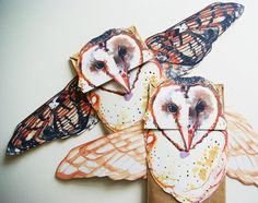 Barn Owl Puppet Kit - Handmade Paper Bag Puppet - DIY Woodland Friend - Art via Etsy