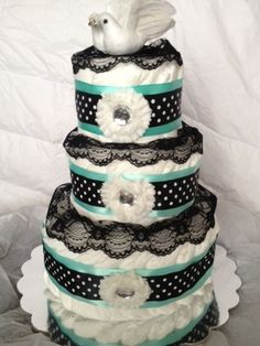 Mod Momma Traditional Diaper Cake. $55.00, via Etsy. #babyshower #diapercake