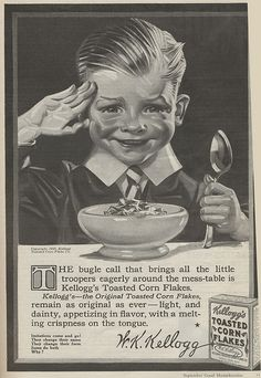 September, 1916 advertisement for Kellogg's Toasted Corn Flakes