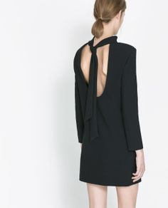 Zara New Cocktail Black Dress with Bow at The Back | eBay