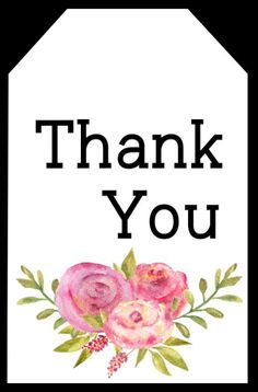 Cute floral thank you tag free printable with pink flowers to print for free and attach to a small thank you gift with some twine, string, or ribbon. Small Thank You Gift, Thank You Gifts, Small Gifts, Printable Designs, Printable Cards, Free Printables, Free Gift Cards, Diy Cards, Gift Tags