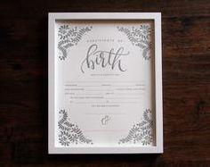 Letterpress Birth Certificate