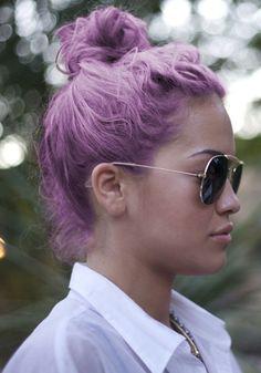 pastel hair top knot Rita Ora