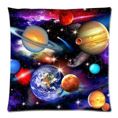 Universe Solar System Planets Earth Galaxy Nebula Print Custom Zippered Pillow Cushion Case Throw Pillow Covers