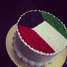 Kuwait national day cake❤ Kuwait Food, Trucial States, Arabian People, Kuwait National Day, Uae, Egyptian, Middle, Sweet, Desserts