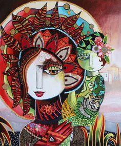 """Galerie Vers un nouveau monde  """"La main du cœur"""" 54 x 65 cm - Technique mixte Laure Ketfa"""