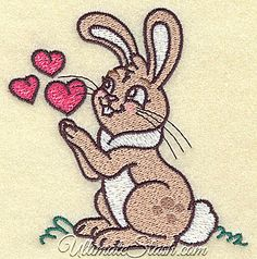 Bunny with three hearts - Valentines Machine Embroidery Design