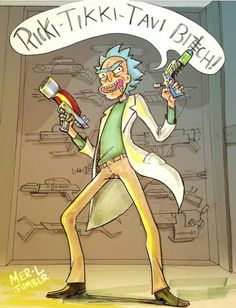 "Rick Sanchez ""Saying random things and looking badass doing it all the while being ready to kill you"""