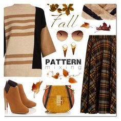 """Pattern Mixing: FALL"" by sjkdesign ❤ liked on Polyvore featuring Maison Margiela, Chloé, Eugenia Kim, Fall, autumn, fallfashion and patternmixing"